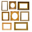 Set of vintage gold  frames - Stock Photo