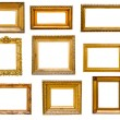 Set of vintage gold frames, isolated on white - Stock Photo
