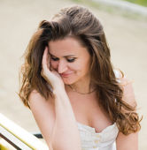 Shy woman — Stockfoto