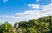 Gaudi's house with tower in Park Guell, Barcelona — Stock Photo