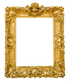 Vintage gold frame, isolated on white — Stok fotoğraf