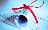 Diploma with red ribbon — Foto Stock
