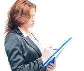 Beyaz bir portföy tutan izole iş kadın — Stok fotoğraf