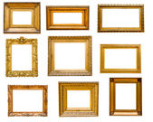 Set of vintage gold frames, isolated on white — Stockfoto