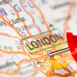 London on a map — Foto Stock