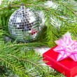 Stock Photo: Gift and green christmas tree