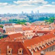 View of Prague city from hill - Stock Photo