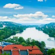 View of Prague city and Vltava river from Vysehrad hill — Stock Photo