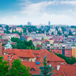 View of Prague city from Vysehrad hill - Stock Photo
