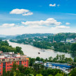 Stock Photo: View of Prague city and Vltava river from Vysehrad hill