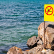 Beach warning sign of Unguarded Beach  — Stock Photo