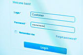 Login - customer and password. Blue computer screen macro — Stock Photo