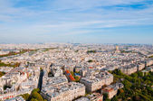 Aerial panoramic view of Paris and Seine river as seen from Eiff — Stock Photo