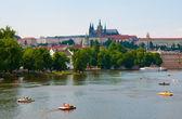 The View on summer Prague above River Vltava — Stock Photo