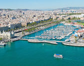 Aerial view of the Harbor district in Barcelona, Spain — Stock Photo