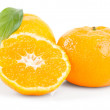 Ripe tasty tangerines isolated on white  — ストック写真