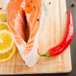 Stock Photo: Salmon with lemon and pepper