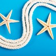 Rope and starfish on blue — Foto de Stock