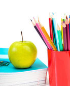 Notebooks, pencils and apple. Back to school concept. — Stock Photo