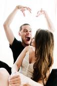 Couple portrait screaming quarrel — Stock Photo