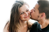 Young man and woman together over white background — Stock Photo