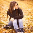 Beautiful thoughtful girl in autumn park — Stock Photo #32695843