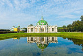 The Grotto Pavilion with reflection in water in park Kuskovo — Stock Photo