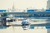 River motor ship on Moscow-river — Stock Photo