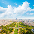 Aerial panoramic view of Paris and Seine river from Eiffel Tower — Stock Photo