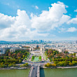 Aerial panoramic view of Paris and Seine river from Eiffel Tower — Stock Photo #34306325