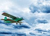 Retro style picture of the biplane. — ストック写真