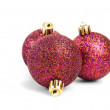 Red christmas balls isolated on white background  — Stock Photo