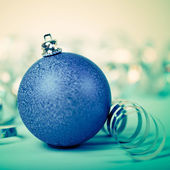Blue christmas ball — Photo