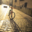Bicycle near a lamppost in Krakow — Stock Photo
