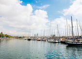 Marina in port Vell in Barcelona. — Stock Photo
