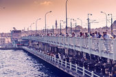 People fish from the Galata bridge — Stock Photo