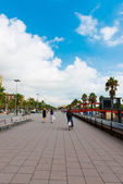 Street in port Vell, Barcelona — Stock Photo