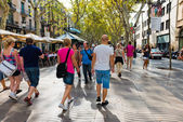 La Rambla in Barcelona, Spain. — Stock Photo