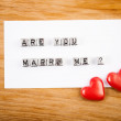 """Hearts and note """"Are you marry me?"""" — Stock Photo #39093161"""