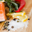 Salmon with lemon and pepper — Stock Photo #42775219