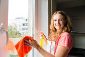 Woman housewife washes a window — Stock Photo