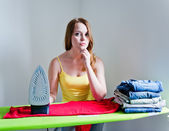 Woman of doing the ironing. — Stok fotoğraf