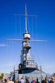 The famous revolutionary ship cruiser Aurora on the Neva river — Stock Photo