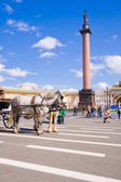 The Alexander Column at Palace Square in St. Petersburg.  — 图库照片