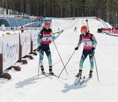 Valj and Vita Semerenko  after finish at Biathlon — Stockfoto