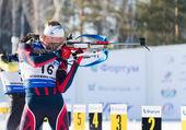 Ivan Tcherezov (RUS) ) on a firing line at Biathlon — Stock Photo