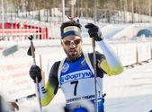 Simon Fourcade (FRA) after finish at Biathlon — Stock Photo