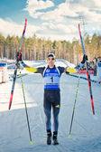 Martin Fourcade (FRA) after finish at Biathlon — Stock Photo