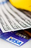 US dollars bills  in wallet and Visa credit card — Stock Photo