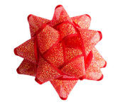 Red holiday gift bow — Stock Photo